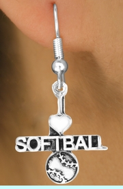 """<bR>         AN ALLAN ROBIN DESIGN<bR>               EXCLUSIVELY OURS!!<BR>CLICK HERE TO SEE 120+ EXCITING<BR>   CHANGES THAT YOU CAN MAKE!<BR>              LEAD & NICKEL FREE!!<BR>   W603SE - """"I LOVE SOFTBALL"""" &<Br>         EARRINGS FROM $4.50 TO $8.35"""