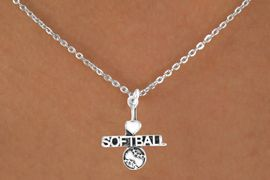 """<bR>         AN ALLAN ROBIN DESIGN<bR>              EXCLUSIVELY OURS!!<BR>CLICK HERE TO SEE 120+ EXCITING<BR>  CHANGES THAT YOU CAN MAKE!<BR>             LEAD & NICKEL FREE!!<BR>  W603SN - """"I LOVE SOFTBALL"""" &<BR>        NECKLACE AS LOW AS $4.50"""