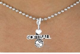 "<bR>         AN ALLAN ROBIN DESIGN<bR>              EXCLUSIVELY OURS!!<BR>CLICK HERE TO SEE 120+ EXCITING<BR>  CHANGES THAT YOU CAN MAKE!<BR>             LEAD & NICKEL FREE!!<BR>  W603SN - ""I LOVE SOFTBALL"" &<BR>        NECKLACE AS LOW AS $4.50"