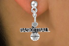"""<bR>         AN ALLAN ROBIN DESIGN<bR>               EXCLUSIVELY OURS!!<BR>CLICK HERE TO SEE 120+ EXCITING<BR>   CHANGES THAT YOU CAN MAKE!<BR>              LEAD & NICKEL FREE!!<BR>W604SE - """"I LOVE BASKETBALL"""" &<Br>        EARRINGS FROM $4.50 TO $8.35"""
