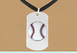"""<bR>              AN ALLAN ROBIN DESIGN<bR>                  EXCLUSIVELY OURS!!<BR>     CLICK HERE TO SEE 65+ EXCITING<BR>      CHANGES THAT YOU CAN MAKE!<BR>                 LEAD & NICKEL FREE!!<BR>W693SN - DOUBLE-SIDED BASEBALL<Br><B>""""NEVER GIVE UP"""" DOG TAG</B> NECKLACE<BR>                FROM $5.57 TO $10.50<BR>                                 &#169;2010<br>"""