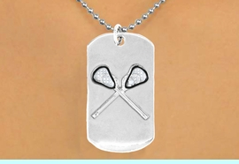 """<bR>              AN ALLAN ROBIN DESIGN<bR>                    EXCLUSIVELY OURS!!<BR>      CLICK HERE TO SEE 65+ EXCITING<BR>       CHANGES THAT YOU CAN MAKE!<BR>                   LEAD & NICKEL FREE!!<BR>W694SN - DOUBLE-SIDED LACROSSE<Br> """"NEVER GIVE UP"""" DOG TAG NECKLACE<BR>                  FROM $6.25 TO $10.50<BR>                                 &#169;2010<br> <ul>ITEM TEMPORARILY OUT OF STOCK!!!</ul>"""