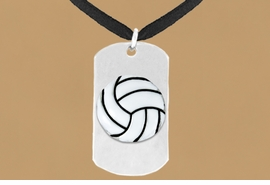 "<bR>              AN ALLAN ROBIN DESIGN<bR>                   EXCLUSIVELY OURS!!<BR>      CLICK HERE TO SEE 65+ EXCITING<BR>       CHANGES THAT YOU CAN MAKE!<BR>                  LEAD & NICKEL FREE!!<BR>W695SN - DOUBLE-SIDED VOLLEYBALL<Br>   ""NEVER GIVE UP"" DOG TAG NECKLACE<BR>                  FROM $6.25 TO $10.50<BR>                                 &#169;2010"