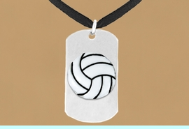 """<bR>              AN ALLAN ROBIN DESIGN<bR>                   EXCLUSIVELY OURS!!<BR>      CLICK HERE TO SEE 65+ EXCITING<BR>       CHANGES THAT YOU CAN MAKE!<BR>                  LEAD & NICKEL FREE!!<BR>W695SN - DOUBLE-SIDED VOLLEYBALL<Br>   """"NEVER GIVE UP"""" DOG TAG NECKLACE<BR>                  FROM $6.25 TO $10.50<BR>                                 &#169;2010"""