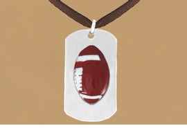 """<bR>              AN ALLAN ROBIN DESIGN<bR>                  EXCLUSIVELY OURS!!<BR>     CLICK HERE TO SEE 65+ EXCITING<BR>      CHANGES THAT YOU CAN MAKE!<BR>                 LEAD & NICKEL FREE!!<BR>W696SN - DOUBLE-SIDED FOOTBALL<Br>""""NEVER GIVE UP"""" DOG  TAG NECKLACE<BR>                FROM $6.25 TO $10.50<BR>                                 ©2010  <br> <ul>ITEM TEMPORARILY OUT OF STOCK!!!</ul>"""