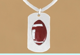 """<bR>              AN ALLAN ROBIN DESIGN<bR>                  EXCLUSIVELY OURS!!<BR>     CLICK HERE TO SEE 65+ EXCITING<BR>      CHANGES THAT YOU CAN MAKE!<BR>                 LEAD & NICKEL FREE!!<BR>W696SN - DOUBLE-SIDED FOOTBALL<Br>""""NEVER GIVE UP"""" DOG TAG NECKLACE<BR>                FROM $6.25 TO $10.50<br>                                 &#169;2010  <br> <ul>ITEM TEMPORARILY OUT OF STOCK!!!</ul>"""