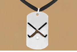 "<bR>                 AN ALLAN ROBIN DESIGN<bR>                      EXCLUSIVELY OURS!!<BR>        CLICK HERE TO SEE 65+ EXCITING<BR>         CHANGES THAT YOU CAN MAKE!<BR>                     LEAD & NICKEL FREE!!<BR>W697SN - DOUBLE-SIDED FIELD HOCKEY<Br>    ""NEVER GIVE UP"" DOG TAG NECKLACE<BR>                    FROM $6.25 TO $10.50<BR>                                     &#169;2010<br> <ul>ITEM TEMPORARILY OUT OF STOCK!!!</ul>"
