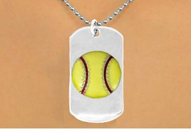 "<bR>             SOFTBALL NECKLACE - ADJUSTABLE<bR>                <BR>           <BR>                 LEAD & NICKEL FREE!!<BR>W698N5 - DOUBLE-SIDED SOFTBALL<Br>""NEVER GIVE UP"" DOG TAG NECKLACE<BR>                  $10.83 EACH   &#169;2010"