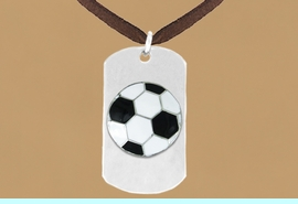 """<bR>              AN ALLAN ROBIN DESIGN<bR>                  EXCLUSIVELY OURS!!<BR>     CLICK HERE TO SEE 65+ EXCITING<BR>      CHANGES THAT YOU CAN MAKE!<BR>                 LEAD & NICKEL FREE!!<BR>   W699SN - DOUBLE-SIDED SOCCER<Br>""""NEVER GIVE UP"""" DOG TAG NECKLACE<BR>                FROM $6.25 TO $10.50<BR>                                 &#169;2010<br> <ul>ITEM TEMPORARILY OUT OF STOCK!!!</ul>"""