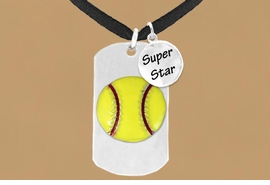 "<bR>             AN ALLAN ROBIN DESIGN<bR>                  EXCLUSIVELY OURS!!<BR>                 LEAD & NICKEL FREE!!<BR>W16278N - DOUBLE-SIDED SOFTBALL<Br> ""NEVER GIVE UP"" DOG TAG & ""SUPER<Br>       STAR"" CHARM NECKLACE FROM<bR>                 $7.50 TO $11.75 &#169;2010"