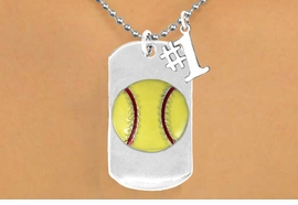 "<bR>             AN ALLAN ROBIN DESIGN<bR>                  EXCLUSIVELY OURS!!<BR>                 LEAD & NICKEL FREE!!<BR>W16279N - DOUBLE-SIDED SOFTBALL<Br>    ""NEVER GIVE UP"" DOG TAG & ""#1""<bR>              CHARM NECKLACE FROM<br>                $7.50 TO $11.75 &#169;2010"