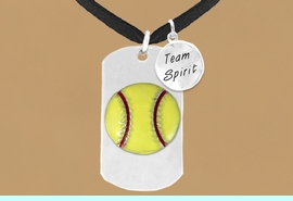 """<bR>             SOFTBALL DOG TAG NECKLACE - ADJUSTABLE<bR>                   <BR>        LEAD, CADMIUM, & NICKEL FREE!!<BR>W16280N3 - DOUBLE-SIDED SOFTBALL<Br>   """"NEVER GIVE UP"""" DOG TAG & """"TEAM<Br>       SPIRIT"""" CHARM NECKLACE <bR>                $12.38 EACH   &#169;2010"""