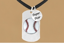 "<bR>             AN ALLAN ROBIN DESIGN<bR>                  EXCLUSIVELY OURS!!<BR>                 LEAD & NICKEL FREE!!<BR>W16281N - DOUBLE-SIDED BASEBALL<Br> ""NEVER GIVE UP"" DOG TAG & ""SUPER<Br>       STAR"" CHARM NECKLACE FROM<bR>                $7.50 TO $11.75 &#169;2010"