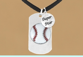 """<bR>             AN ALLAN ROBIN DESIGN<bR>                  EXCLUSIVELY OURS!!<BR>                 LEAD & NICKEL FREE!!<BR>W16281N - DOUBLE-SIDED BASEBALL<Br> """"NEVER GIVE UP"""" DOG TAG & """"SUPER<Br>       STAR"""" CHARM NECKLACE FROM<bR>                $7.50 TO $11.75 &#169;2010"""