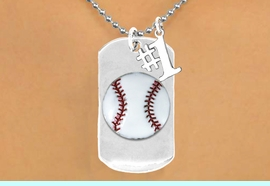 """<bR>             AN ALLAN ROBIN DESIGN<bR>                  EXCLUSIVELY OURS!!<BR>                 LEAD & NICKEL FREE!!<BR>W16282N - DOUBLE-SIDED BASEBALL<Br>     """"NEVER GIVE UP"""" DOG TAG & """"#1""""<Br>              CHARM NECKLACE FROM<bR>                $7.50 TO $11.75 &#169;2010"""