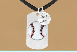 """<bR>              AN ALLAN ROBIN DESIGN<bR>                   EXCLUSIVELY OURS!!<BR>                  LEAD & NICKEL FREE!!<BR>W16283N - DOUBLE-SIDED BASEBALL<Br>   """"NEVER GIVE UP"""" DOG TAG & """"TEAM<Br>       SPIRIT"""" CHARM NECKLACE FROM<bR>                 $7.50 TO $11.75 &#169;2010"""