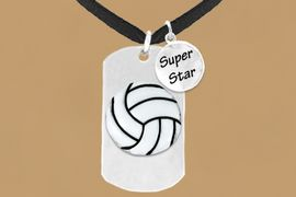 "<bR>               AN ALLAN ROBIN DESIGN<bR>                    EXCLUSIVELY OURS!!<BR>                   LEAD & NICKEL FREE!!<BR>W16284N - DOUBLE-SIDED VOLLEYBALL<Br>    ""NEVER GIVE UP"" DOG TAG & ""SUPER<Br>          STAR"" CHARM NECKLACE FROM<bR>                   $7.50 TO $11.75 &#169;2010"