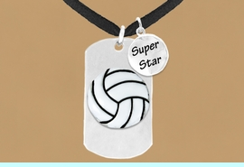 """<bR>               AN ALLAN ROBIN DESIGN<bR>                    EXCLUSIVELY OURS!!<BR>                   LEAD & NICKEL FREE!!<BR>W16284N - DOUBLE-SIDED VOLLEYBALL<Br>    """"NEVER GIVE UP"""" DOG TAG & """"SUPER<Br>          STAR"""" CHARM NECKLACE FROM<bR>                   $7.50 TO $11.75 &#169;2010"""