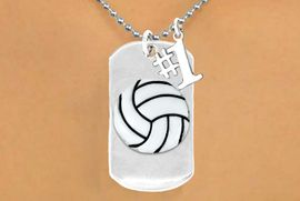 "<bR>               AN ALLAN ROBIN DESIGN<bR>                    EXCLUSIVELY OURS!!<BR>                   LEAD & NICKEL FREE!!<BR>W16285N - DOUBLE-SIDED VOLLEYBALL<Br>       ""NEVER GIVE UP"" DOG TAG & ""#1""<bR>CHARM NECKLACE FROM $7.50 TO $11.75<bR>                                   &#169;2010"