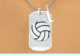 """<bR>               AN ALLAN ROBIN DESIGN<bR>                    EXCLUSIVELY OURS!!<BR>                   LEAD & NICKEL FREE!!<BR>W16285N - DOUBLE-SIDED VOLLEYBALL<Br>       """"NEVER GIVE UP"""" DOG TAG & """"#1""""<bR>CHARM NECKLACE FROM $7.50 TO $11.75<bR>                                   &#169;2010"""