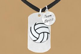 "<bR>                 AN ALLAN ROBIN DESIGN<bR>                      EXCLUSIVELY OURS!!<BR>                     LEAD & NICKEL FREE!!<BR>W16286N - DOUBLE-SIDED VOLLEYBALL<Br>     ""NEVER GIVE UP"" DOG TAG & ""TEAM<Br>          SPIRIT"" CHARM NECKLACE FROM<bR>                     $7.50 TO $11.75 &#169;2010"