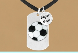 """<bR>                AN ALLAN ROBIN DESIGN<bR>                     EXCLUSIVELY OURS!!<BR>                    LEAD & NICKEL FREE!!<BR>W16287N - DOUBLE-SIDED SOCCER BALL<Br>    """"NEVER GIVE UP"""" DOG TAG & """"SUPER<Br>          STAR"""" CHARM NECKLACE FROM<bR>                   $7.50 TO $11.75 &#169;2010"""
