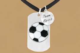 "<bR>                 AN ALLAN ROBIN DESIGN<bR>                      EXCLUSIVELY OURS!!<BR>                     LEAD & NICKEL FREE!!<BR>W16289N - DOUBLE-SIDED SOCCER BALL<Br>      ""NEVER GIVE UP"" DOG TAG & ""TEAM<Br>          SPIRIT"" CHARM NECKLACE FROM<bR>                    $7.50 TO $11.75 &#169;2010"