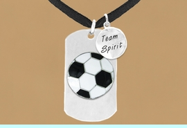 """<bR>                 AN ALLAN ROBIN DESIGN<bR>                      EXCLUSIVELY OURS!!<BR>                     LEAD & NICKEL FREE!!<BR>W16289N - DOUBLE-SIDED SOCCER BALL<Br>      """"NEVER GIVE UP"""" DOG TAG & """"TEAM<Br>          SPIRIT"""" CHARM NECKLACE FROM<bR>                    $7.50 TO $11.75 &#169;2010"""