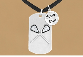 "<bR>               AN ALLAN ROBIN DESIGN<bR>                   EXCLUSIVELY OURS!!<BR>                  LEAD & NICKEL FREE!!<BR>W16290N - DOUBLE-SIDED LACROSSE<Br>  ""NEVER GIVE UP"" DOG TAG & ""SUPER<Br>        STAR"" CHARM NECKLACE FROM<bR>                  $7.50 TO $11.75 &#169;2010"