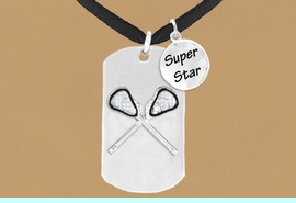 """<bR>               AN ALLAN ROBIN DESIGN<bR>                   EXCLUSIVELY OURS!!<BR>                  LEAD & NICKEL FREE!!<BR>W16290N - DOUBLE-SIDED LACROSSE<Br>  """"NEVER GIVE UP"""" DOG TAG & """"SUPER<Br>        STAR"""" CHARM NECKLACE FROM<bR>                  $7.50 TO $11.75 &#169;2010"""