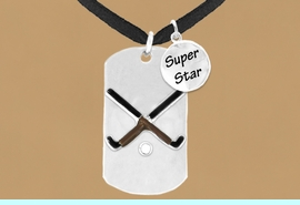 """<bR>                  AN ALLAN ROBIN DESIGN<bR>                       EXCLUSIVELY OURS!!<BR>                      LEAD & NICKEL FREE!!<BR>W16293N - DOUBLE-SIDED FIELD HOCKEY<Br>     """"NEVER GIVE UP"""" DOG TAG & """"SUPER<Br>            STAR"""" CHARM NECKLACE FROM<bR>                     $7.50 TO $11.75 &#169;2010"""
