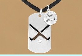 """<bR>                  AN ALLAN ROBIN DESIGN<bR>                      EXCLUSIVELY OURS!!<BR>                     LEAD & NICKEL FREE!!<BR>W16295N - DOUBLE-SIDED FIELD HOCKEY<Br>      """"NEVER GIVE UP"""" DOG TAG & """"TEAM<Br>          SPIRIT"""" CHARM NECKLACE FROM<bR>                     $7.50 TO $11.75 &#169;2010"""