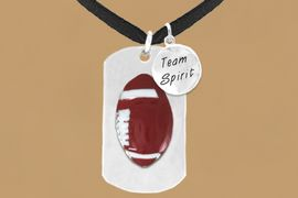 "<bR>              AN ALLAN ROBIN DESIGN<bR>                   EXCLUSIVELY OURS!!<BR>                  LEAD & NICKEL FREE!!<BR>W16298N - DOUBLE-SIDED FOOTBALL<Br>   ""NEVER GIVE UP"" DOG TAG & ""TEAM<Br>       SPIRIT"" CHARM NECKLACE FROM<bR>                $7.50 TO $11.75 &#169;2010"