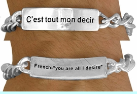 """<BR>              AN ALLAN  ROBIN DESIGN<Br>                  EXCLUSIVELY OURS!!!<BR>     W11394B - MEN'S SILVER FINISH<br>   """"YOU ARE ALL I DESIRE"""" FRENCH &<Br>ENGLISH BRACELET FROM $3.65 TO $7.50<BR>                                    �2007"""