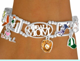 """<bR>          AN ALLAN ROBIN DESIGN<Br>               EXCLUSIVELY OURS!<br>W9366B - SILVER TONE """"T-BALL<br>MOM"""" STRETCH BRACELET FROM<br>                   $4.50 TO $10.00"""