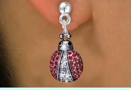 <BR>                ANIMAL JEWELRY <bR>              EXCLUSIVELY OURS!! <Br>         AN ALLAN ROBIN DESIGN!! <BR>   LEAD, NICKEL & CADMIUM FREE!! <BR>  W1441SE - SILVER TONE WITH RED <BR> CRYSTAL LADYBUG CHARM EARRINGS <BR>      FROM $5.40 TO $10.45 �2013