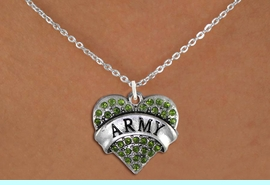 """<BR>  ARMY NECKLACE JEWELRY WHOLESALE <bR>                   EXCLUSIVELY OURS!! <Br>              AN ALLAN ROBIN DESIGN!! <BR>     CLICK HERE TO SEE 1000+ EXCITING <BR>           CHANGES THAT YOU CAN MAKE! <BR>        LEAD, NICKEL & CADMIUM FREE!! <BR> W1480SN - SILVER TONE """"ARMY"""" GREEN <BR>     CRYSTAL HEART CHARM AND NECKLACE <BR>            FROM $5.40 TO $9.85 �2013"""