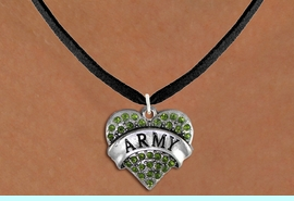 "<BR>  ARMY NECKLACE JEWELRY WHOLESALE <bR>                   EXCLUSIVELY OURS!! <Br>              AN ALLAN ROBIN DESIGN!! <BR>     CLICK HERE TO SEE 1000+ EXCITING <BR>           CHANGES THAT YOU CAN MAKE! <BR>        LEAD, NICKEL & CADMIUM FREE!! <BR> W1480SN - SILVER TONE ""ARMY"" GREEN <BR>     CRYSTAL HEART CHARM AND NECKLACE <BR>            FROM $5.40 TO $9.85 �2013"