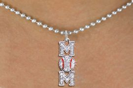 "<BR>          BASEBALL MOM NECKLACE <bR>                   EXCLUSIVELY OURS!! <Br>              AN ALLAN ROBIN DESIGN!! <BR>     CLICK HERE TO SEE 1000+ EXCITING <BR>           CHANGES THAT YOU CAN MAKE! <BR>        LEAD, NICKEL & CADMIUM FREE!! <BR> W1473SN - SILVER TONE BASEBALL ""MOM"" <BR>     CLEAR CRYSTAL CHARM AND NECKLACE <BR>            FROM $5.40 TO $9.85 �2013"