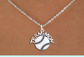 """<br>        BASEBALL NECKLACE   WHOLESALE <bR>                   EXCLUSIVELY OURS!! <BR>              AN ALLAN ROBIN DESIGN!! <BR>     CLICK HERE TO SEE 1000+ EXCITING <BR>           CHANGES THAT YOU CAN MAKE! <BR>        CADMIUM, LEAD & NICKEL FREE!! <BR>       W1491SN - DETAILED SILVER TONE <BR> """"TEAM MOM"""" BASEBALL CHARM & NECKLACE <BR>             FROM $4.50 TO $8.35 �2013"""