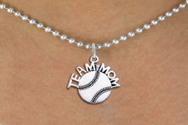 "<br>        BASEBALL NECKLACE   WHOLESALE <bR>                   EXCLUSIVELY OURS!! <BR>              AN ALLAN ROBIN DESIGN!! <BR>     CLICK HERE TO SEE 1000+ EXCITING <BR>           CHANGES THAT YOU CAN MAKE! <BR>        CADMIUM, LEAD & NICKEL FREE!! <BR>       W1491SN - DETAILED SILVER TONE <BR> ""TEAM MOM"" BASEBALL CHARM & NECKLACE <BR>             FROM $4.85 TO $8.30 �2013"