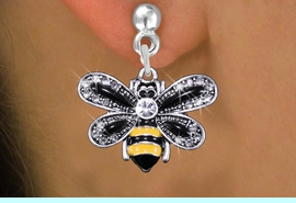 <BR>                      BEE  JEWELRY <bR>              EXCLUSIVELY OURS!! <Br>         AN ALLAN ROBIN DESIGN!! <BR>   LEAD, NICKEL & CADMIUM FREE!! <BR>  W1439SE - SILVER TONE WITH CLEAR <BR> CRYSTAL BUMBLEBEE CHARM EARRINGS <BR>      FROM $5.40 TO $10.45 �2013