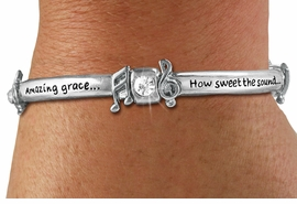 "<Br>CADMIUM, LEAD, AND NICKEL FREE!!<BR>W19499B - ""AMAZING GRACE..."" <Br>       SILVER TONE AND CRYSTAL <br>   ENGRAVED STRETCH BRACELET<Br>          $7.83 EACH"