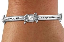 """<Br>CADMIUM, LEAD, AND NICKEL FREE!!<BR>W19499B - """"AMAZING GRACE..."""" <Br>       SILVER TONE AND CRYSTAL <br>   ENGRAVED STRETCH BRACELET<Br>          $7.83 EACH"""