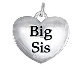 "<BR>CADMIUM,  LEAD & NICKEL FREE!! <BR>W1298SC - POLISHED SILVER TONE <BR>""BIG SIS"" HEART CHARM  $5.08 EACH"