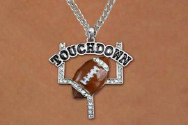 """<BR>CADMIUM, LEAD & NICKEL FREE!! <BR>W19785NE - AUSTRIAN CRYSTAL <BR>   """"TOUCHDOWN"""" FOOTBALL <BR> NECKLACE AND EARRING SET<BR>   FROM $6.75 TO $15.00 �2012"""