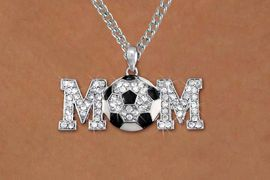 """<BR>CADMIUM, LEAD & NICKEL FREE!! <BR>W19786NE - AUSTRIAN CRYSTAL <BR>SILVER TONE SOCCER """"MOM"""" BLING <BR> NECKLACE AND EARRING SET <BR>      FROM $6.75 TO $15.00 �2012"""