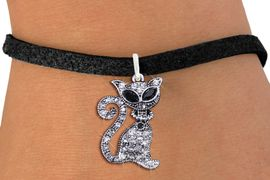 <BR>                        CAT JEWELRY <bR>                EXCLUSIVELY OURS!! <Br>           AN ALLAN ROBIN DESIGN!! <BR>  CLICK HERE TO SEE 1000+ EXCITING <BR>        CHANGES THAT YOU CAN MAKE! <BR>     LEAD, NICKEL & CADMIUM FREE!! <BR> W1438SB - SILVER TONE JET AND CLEAR <BR>    CRYSTAL CAT CHARM & BRACELET <BR>         FROM $5.40 TO $9.85 �2013