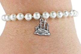 <BR>                       CATHOLIC JEWELRY<Br>                     LEAD & NICKEL FREE!! <Br>     W19425B - GOLGOTHA / CALVARY <BR> CHARM ON 6MM PEARL BEAD BRACELET <BR>            FROM $2.81 TO $6.25 �2012