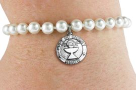 <BR>                       CATHOLIC JEWELRY<Br>                     LEAD & NICKEL FREE!! <Br>     W19427B - COMMUNION CUP <BR> CHARM ON 6MM PEARL BEAD BRACELET <BR>            FROM $2.81 TO $6.25 �2012